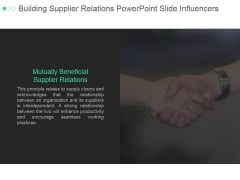 Building Supplier Relations Ppt PowerPoint Presentation Deck