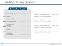 Building The Business Case Ppt PowerPoint Presentation Portfolio Graphics Template