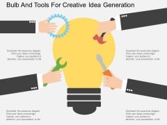 Bulb And Tools For Creative Idea Generation Powerpoint Template