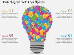 Bulb Diagram With Four Options Powerpoint Templates