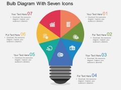 Bulb Diagram With Seven Icons Powerpoint Templates