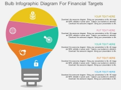 Bulb Infographic Diagram For Financial Targets Powerpoint Template