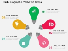 Bulb Infographic With Five Steps Powerpoint Templates