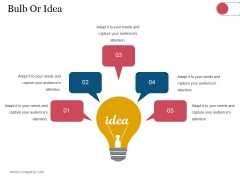 Bulb Or Idea Ppt PowerPoint Presentation Inspiration Graphics Download