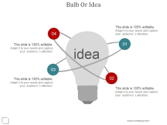Bulb Or Idea Ppt PowerPoint Presentation Microsoft
