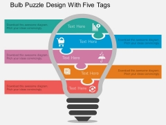 Bulb Puzzle Design With Five Tags Powerpoint Template