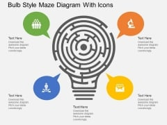 Bulb Style Maze Diagram With Icons Powerpoint Template