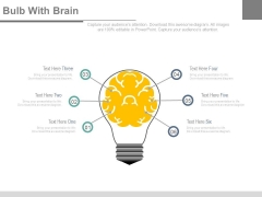 Bulb With Brain And Six Steps Powerpoint Slides