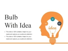 Bulb With Idea Ppt PowerPoint Presentation Ideas Design Ideas