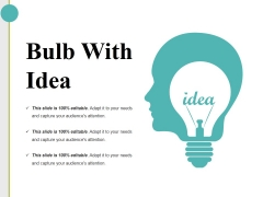 Bulb With Idea Ppt PowerPoint Presentation Ideas Slide