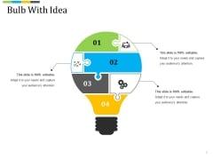 Bulb With Idea Ppt PowerPoint Presentation Summary Sample