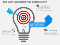 Bulb With Target Board And Success Arrow Powerpoint Template