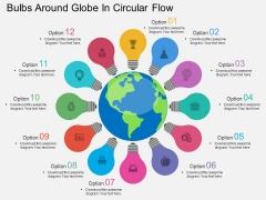 Bulbs Around Globe In Circular Flow Powerpoint Template