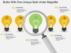 Bulbs With One Unique Bulb Under Magnifier Powerpoint Template