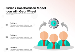 Busines Collaboration Model Icon With Gear Wheel Ppt PowerPoint Presentation Professional Example Topics PDF