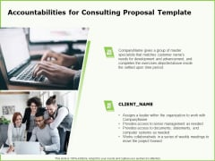 Business Accountabilities For Consulting Proposal Template Ppt Slides Vector PDF