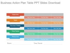 Business Action Plan Table Ppt Slides Download