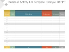 Business Activity List Template Example Of Ppt