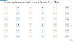 Business Advancement With Internal Growth Icons Slide Background PDF