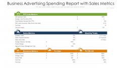 Business Advertising Spending Report With Sales Metrics Ppt Professional PDF