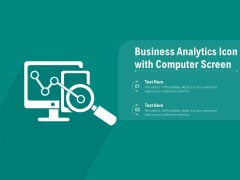 Business Analytics Icon With Computer Screen Ppt PowerPoint Presentation Gallery Pictures PDF