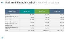 Business And Financial Analysis Required Investment Ppt PowerPoint Presentation Inspiration