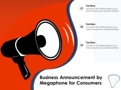 Business Announcement By Megaphone For Consumers Ppt PowerPoint Presentation Professional Inspiration PDF