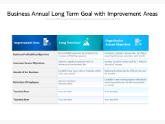 Business Annual Long Term Goal With Improvement Areas Ppt PowerPoint Presentation Infographics Show PDF
