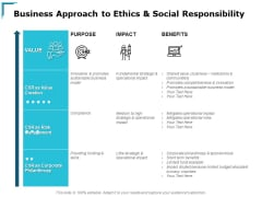Business Approach To Ethics And Social Responsibility Ppt PowerPoint Presentation Model Background Image