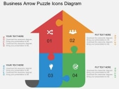 Business Arrow Puzzle Icons Diagram Powerpoint Template