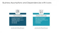 Business Assumptions And Dependencies With Icons Ppt Layouts Inspiration PDF