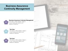 Business Assurance Continuity Management Ppt PowerPoint Presentation Inspiration Elements Cpb Pdf