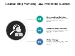 Business Blog Marketing Low Investment Business Media Strategy Ppt PowerPoint Presentation Show Skills