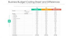 Business Budget Costing Sheet And Differences Ppt PowerPoint Presentation Summary Format Ideas PDF