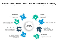 Business Buzzwords Like Cross Sell And Native Marketing Ppt PowerPoint Presentation Gallery Topics PDF