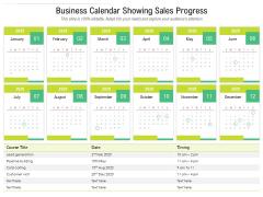 Business Calendar Showing Sales Progress Ppt PowerPoint Presentation Inspiration Diagrams PDF