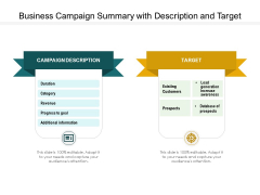 Business Campaign Summary With Description And Target Ppt PowerPoint Presentation File Deck PDF