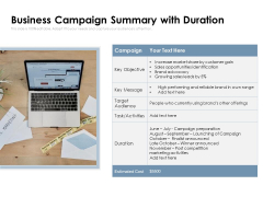 Business Campaign Summary With Duration Ppt PowerPoint Presentation Gallery Design Inspiration PDF