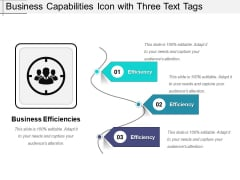 Business Capabilities Icon With Three Text Tags Ppt PowerPoint Presentation File Professional PDF