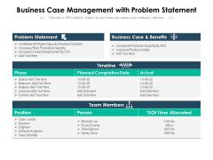 Business Case Management With Problem Statement Ppt PowerPoint Presentation Icon Graphics Tutorials PDF