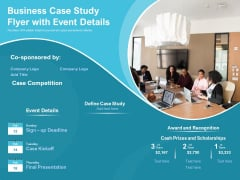 Business Case Study Flyer With Event Details Ppt PowerPoint Presentation File Rules PDF