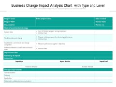 Business Change Impact Analysis Chart With Type And Level Ppt PowerPoint Presentation File Images PDF