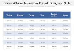 Business Channel Management Plan With Timings And Costs Ppt PowerPoint Presentation File Inspiration PDF