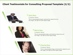 Business Client Testimonials For Consulting Proposal Template Company Ppt Infographic Template Good PDF