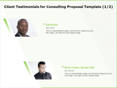 Business Client Testimonials For Consulting Proposal Template Representative Ppt Infographics Professional PDF