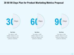 Business Commodity Market KPIS 30 60 90 Days Plan For Product Marketing Metrics Proposal Infographics PDF
