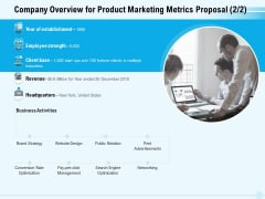 Business Commodity Market KPIS Company Overview For Product Marketing Metrics Proposal Summary PDF