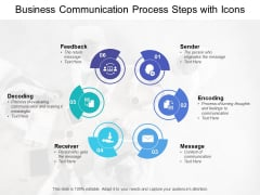 Business Communication Process Steps With Icons Ppt PowerPoint Presentation Ideas Show