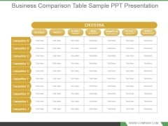 Business Comparison Table Sample Ppt Presentation