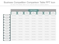 Business Competition Comparison Table Ppt Icon